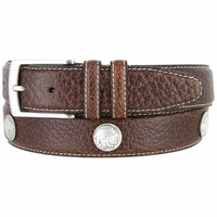 "Men's Genuine Bison Leather Dress Belt with Conchos 1-3/8"" wide - Brown"