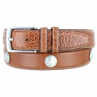 "Men's Genuine Bison Leather Dress Belt with Conchos 1-3/8"" wide - Tan"