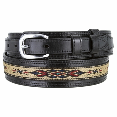 10569 Men's Genuine Full Grain Leather with Cloth Ranger Belt - Black