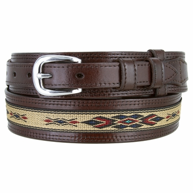 Men's Genuine Leather with Cloth Ranger Belt - Brown