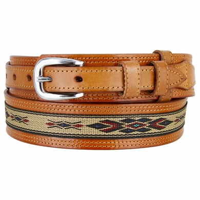 Men's Genuine Leather with Cloth Ranger Belt - Tan