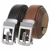 "Men's Gunmetal Sliding Ratchet Buckle Leather Belt 1 3/8"" Wide"