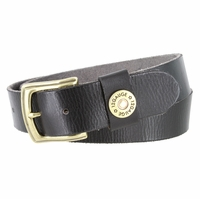 "Men's One Shotgun Shell Concho Genuine Full Grain Casual Jean Leather Belt 1-1/2"" wide - Black"