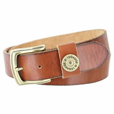"Men's One Shotgun Shell Concho Genuine Full Grain Casual Jean Leather Belt 1-1/2"" wide - Tan"