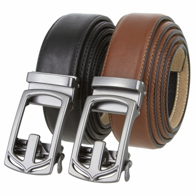"Men's Ratchet Gunmetal Sliding Buckle Leather Dress Belt 1 3/8"" Wide"