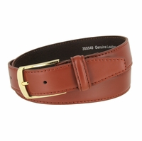 "Men's Smooth Genuine Leather Dress Belt 1-3/8"" wide with Gold Plated Buckle"