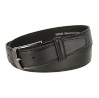 "Men's Smooth Genuine Leather Dress Belt 1-3/8"" wide with Gunmetal Plated Buckle"