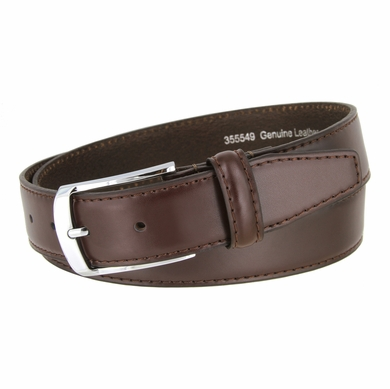 "Men's Smooth Genuine Leather Dress Belt 1-3/8"" wide with Nickel Plated Buckle"