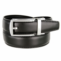 Men's Vintage Gunmetal Sliding Buckle Leather Ratchet Belt (35mm) - Black