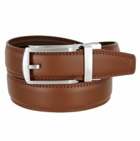 Men's Vintage Gunmetal Sliding Buckle Leather Ratchet Belt (35mm) - Brown