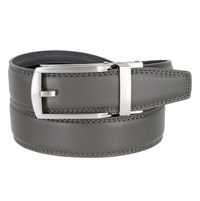 Men's Vintage Gunmetal Sliding Buckle Leather Ratchet Belt (35mm) - Grey