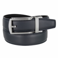 Men's Vintage Gunmetal Sliding Buckle Leather Ratchet Belt (35mm) - Navy