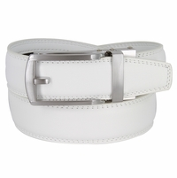 Men's Vintage Gunmetal Sliding Buckle Leather Ratchet Belt (35mm) - White