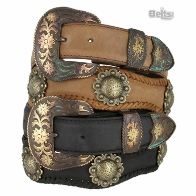 Men's Western Cowboy Belt Vintage Crazy Horse Scalloped Genuine Leather Concho Belt