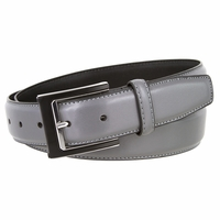 "New York Black and Silver Buckle Men's Genuine Leather Belt 1 3/8"" Wide"