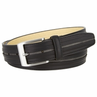 """Nickel Brush Buckle One Middle Line Genuine Leather Belt 1-3/8"""" Wide"""