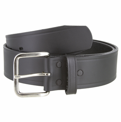 "Nickel Shinny Buckle Top Grain Leather Black Belt 1 3/4"" Wide"