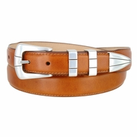 Nicolo Men's Smooth Saddle Tan Leather Dress Belt with Silver Plated Buckle Set