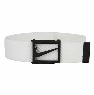 NIKE Men's Diagonal Web Belt in White and Dark Grey