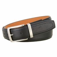Nike Men's Pebbled Double Stitched Leather Belt - Black