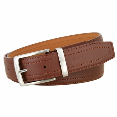 Nike Men's Pebbled Double Stitched Leather Belt - Brown
