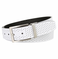 "Nike Men's Perforated Reversible Belt White/Black 1 3/8"" Wide"