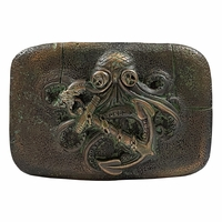 Old Copper with Patina Octopus Boat Anchor Belt Buckle