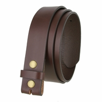 "Made in USA Belt BS105038 One Piece Full Genuine Leather Belt Strap 1-1/2"" (38mm) Wide-Brown"