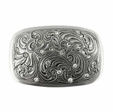 Rhinestones inset into sterling silver Women's Western Belt Buckle H-8407-1