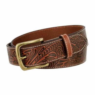 "Rounded Edge Heel Bar Buckle Western Floral Engraved Tooled Leather Belt 1-1/2"" Wide - Tan"