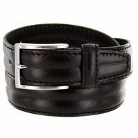"S067/35 Men's Italian Leather Dress Casual Belt 1-3/8"" Wide Made in Italy - Black"