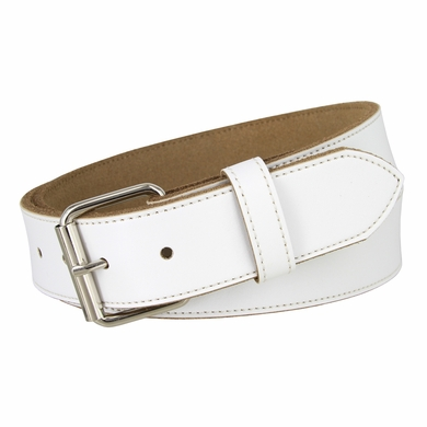 "Seris 100% Leather Cowhide Roller Belt 1.5"" Wide - White"