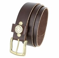 "Men's One Shotgun Shell Concho Genuine Full Grain Casual Jean Leather Belt 1-1/2"" wide - Brown"