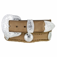 Silver City Western Concho Leather Belt-Brown