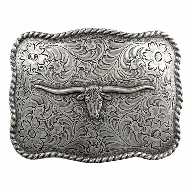 Silver Longhorn Steer Men's Western Trophy Belt Buckle H8143 LASRP