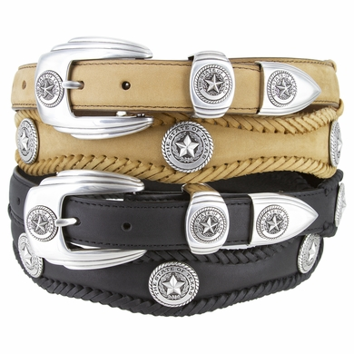 Silver State of Texas Western Scallop Braided Leather Belt