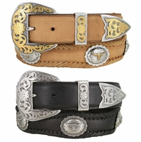 Soccorro Western Long Horn Conchos Ranger Woven Leather Belt