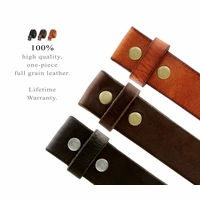 "Solid One Piece Genuine Leather Belt Strap Without Slot Hole 1-1/2"" Wide"