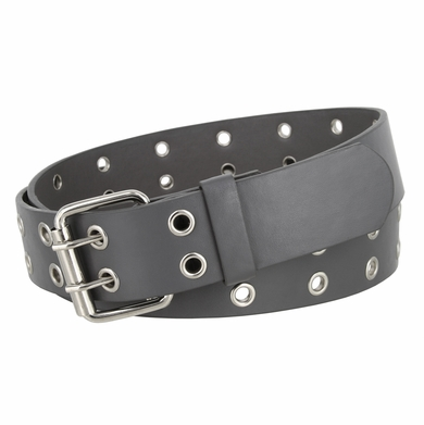 Solid Rich Fashion Color Double Prong Genuine Leather Casual Jean Belt Grey