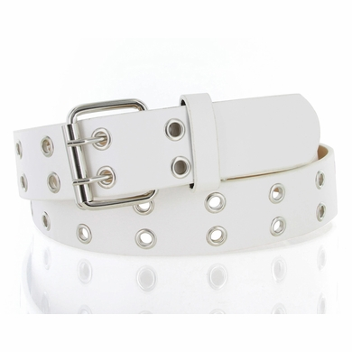 Solid Rich Fashion Color Double Prong Genuine Leather Casual Jean Belt White