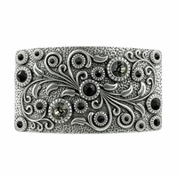 Swarovski rhinestone Crystal Belt Buckle Antique Rectangle Floral Engraved Buckle - Silver-Black Diamond Jet