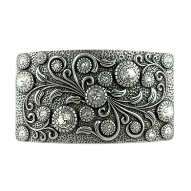 Swarovski rhinestone Crystal Belt Buckle Antique Rectangle Floral Engraved Buckle - Silver-Crystal