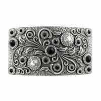 Swarovski rhinestone Crystal Belt Buckle Antique Rectangle Floral Engraved Buckle - Silver-Crystal Diamond Jet