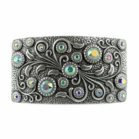 Swarovski rhinestone Crystal Belt Buckle Antique Rectangle Floral Engraved Buckle - Silver-CrystalAB