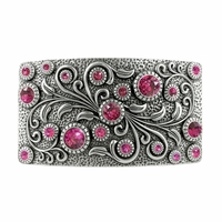 Swarovski rhinestone Crystal Belt Buckle Antique Rectangle Floral Engraved Buckle - Silver_Fuchsia