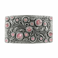 Swarovski rhinestone Crystal Belt Buckle Antique Rectangle Floral Engraved Buckle - Silver_Lt Rose