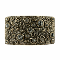 Swarovski rhinestone Crystal Belt Buckle Brass Rectangle Floral Engraved Buckle - Brass_Black Diamond