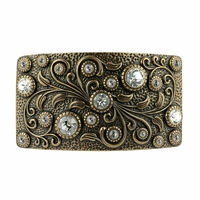 Swarovski rhinestone Crystal Belt Buckle Brass Rectangle Floral Engraved Buckle - Brass_Crystal