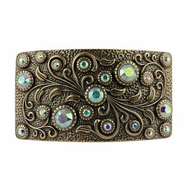 Swarovski rhinestone Crystal Belt Buckle Brass Rectangle Floral Engraved Buckle - Brass_CrystalAB