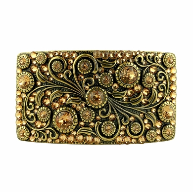 Swarovski rhinestone Crystal Belt Buckle Brass Rectangle Floral Engraved Buckle - Brass_Full Lt Col Topaz